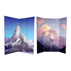 Oriental Furniture - 6 ft. Tall Double Sided Matterhorn/Everest Canvas Room Divider - Transcend the ordinary with this pair of powerful, National Geographic quality photographs of two of the world's most famous mountains. On the front is a photo print of tallest summit in the world, the majestic Mount Everest, taken from the Nepalese border. On the back is the most recognizable apex in the Swiss and Italian Alps, the iconic and unmistakable Matterhorn. These fine prints will bring beautiful decorative accents into your living room, bedroom, dining or kitchen. This four panel screen has different images on each side, as shown.