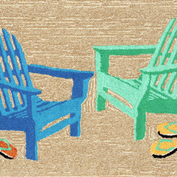 "Trans-Ocean - 24""x36"" Frontporch Adirondack Seaside Mat - Richly blended colors add vitality and sophistication to playful novelty designs.Lightweight loosely tufted Indoor Outdoor rugs made of synthetic materials in China and UV stabilized to resist fading.These whimsical rugs are sure to liven up any indoor or outdoor space, and their easy care and durability make them ideal for kitchens, bathrooms, and porches. Made in China."