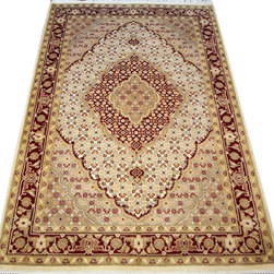 "ALRUG - Handmade Red Persian Tabriz Rug 4' x 6' 3"" (ft) - This Pakistani Tabriz design rug is hand-knotted with Wool on Cotton."