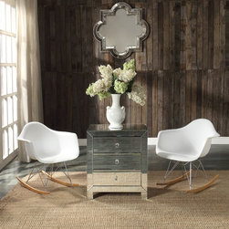 Homelegance - Homelegance Mardella Mirror Cabinet - With an air of Hollywood glamour, the Mardella Collection will shine as the centerpiece of your home's decor. Functional as a nightstand, end table or accent piece, the mirrored surface will reflect your personal style. The silver finish and crystal knobs add to the highly stylized look of the piece, while the three drawers provide additional storage space. - 4677.  Product features: Mardella Collection; Functional as a nightstand, end table or accent piece; Silver finish and crystal knobs. Product includes: Accent Cabinet (1). Mirror Cabinet belongs to Mardella Collection by Homelegance.