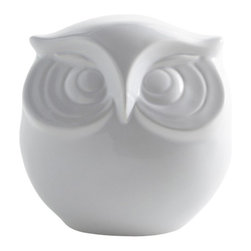 Looking Owl - The perfect wide eyed character to liven up a variety of spaces - from bookshelves to bathrooms. In classic white to accessorize with any motif.