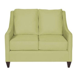 "Howard Elliott Sterling Willow Side Car Loveseat - Our Side Car Loveseat features classic styling in bold fabrics. It is hand crafted with extra plush cushions with removable covers for easy care. Seat height is 22"" - seat depth is 23"" - COM options available Light Green Polyester Fabric"