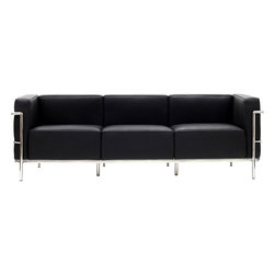 LexMod - Charles Grande Sofa in Black - Urban life has always a quandary for designers. While the torrent of external stimuli surrounds, the designer is vested with the task of introducing calm to the scene. From out of the surging wave of progress, the most talented can fashion a forcefield of tranquility.
