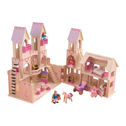 "KidKraft - Kidkraft Kids Home Indoor Pretend Play Imaginative Toy Princess Castle Playset - Our Princess Castle is sure to make any young girl feel like true royalty. It's so much fun pretending to climb the long rope bridge, sit on the fancy throne or ride around on the own horse-pulled carriage. Now parents know which toy to buy for their own perfect princess. Dimension: 17.99""Lx 17.44""Wx 27.05""H"