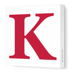 """Avalisa - Letter - Upper Case 'K' Stretched Wall Art, 12"""" x 12"""", Dark Red - Spell it out loud. These uppercase letters on stretched canvas would look wonderful in a nursery touting your little one's name, but don't stop there; they could work most anywhere in the home you'd like to add some playful text to the walls. Mix and match colors for a truly fun feel or stick to one color for a more uniform look."""