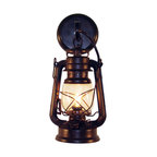 Muskoka Lifestyle Products - Rustic Lantern Wall Mounted Light - Small Rustic - This Lantern Wall Sconce has our rustic finish with the look of an original oil lantern to provide that authentic touch to your space. This item is UL listed as an indoor, wall mounted fixture only.