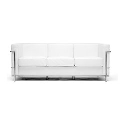 Baxton Studio - Baxton Studio White Le Corbusier Petite Sofa - Le Corbusier-style de Petite Leather Sofa with a sturdy stainless steel frame fully welded, sealed and sanded, sleek white leather upholstery, unique block design with elegant piped edging, comfortable high density foam fill.