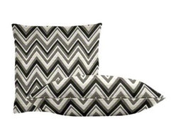 "Cushion Source - Sunbrella Fischer Graphite Throw Pillow Set - The Sunbrella Fischer Graphite Outdoor Throw Pillow Set consists of two 18"" x 18"" throw pillows featuring a chevron print in black, white, off white, and gray."