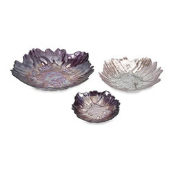 iMax - Midnight Garden Glass Bowls, Set of 3 - The striking shades of purple in the Midnight garden glass bowls and texture inspired by marine life creates a dramatic focal point to any room.