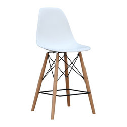 "Lemoderno - Fine Mod Imports  Woodleg Bar Chair, White - The Woodleg Bar  Chair is a truly comfortable chair, it has a high flexible back with good 'give' and a deep seat pocket supported by an elegant Wood/Wire Base. White ABS Seat Wood and Wire Base Dimensions: Seat 18""W x 15""D"