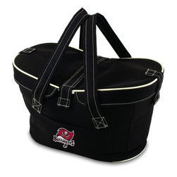 Picnic Time - Tampa Bay Buccaneers Mercado Picnic Basket in Black - This Mercado Basket combines the fun and romance of a basket with the practicality of a lightweight canvas tote. It's made of polyester with water-resistant PEVA liner and has a fully removable lid for more versatility. Take it to the farmers market, the beach, or use it in the car for long trips. Carry food or sundries to and from home, or pack a lunch for you and your friends or family to share when you reach your destination. The Mercado is the perfect all-around soft-sided, insulated basket cooler to use when you want to transport a lunch or food items and look fashionable doing it.; Decoration: Digital Print; Includes: 1 removable canvas lid