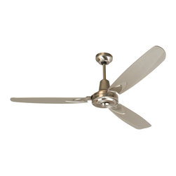 "Craftmade - Craftmade VE58SS3 Stainless Steel Modern Three Blade 56"" Industrial / - 56"" Craftmade Velocity Ceiling Fan with Dual Mount System, Blades and Wall Control Included The three blades of this fan give it an industrial feel, but the overall look of the fan is pure retro. The Craftmade Velocity ceiling fan comes complete with the fan motor, blades and wall control. The heavy duty 4 speed motor (non-reversible) pairs well with exact weight 56"" metal blades which come in either white or black. Craftmade includes a 30 year limited warranty with the Velocity fan.  Features  Heavy-Duty 188mm x 22mm, 4 Speed Non-Reversible Motor Three 56"" Custom Metal Blades matched to exact weight - included, see below. Downrod Supplied, 12"" - additional selections available. Model-specific 4-Speed Wall Control - CM-4SDG - Included Dual Mount System, Standard with both J-Hook and Ball Hanger Mounting Systems - Included Metal fan Blades have a 19.5 degree pitch  Allow 10  of clearance from the floor for safety purposes due to metal blades and powerful motor 30 Year Limited Warranty  Popular combinations (see Product Multimedia):   Black Motor with 56"" Custom Metal Black Blades W"