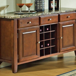 Steve Silver Co. - Montibello Marble Top Server w Wine Rack in C - Wine bottle storage. 3 drawers & 2 doors. Silver finished hardware accents. Multi-step Rich Cherry finish. Contemporary style. Corner block construction. Tongue and groove joints. Select hardwood solids material. No assembly required. 56 in. W x 18 in. D x 34 in. H (165 lbs.)