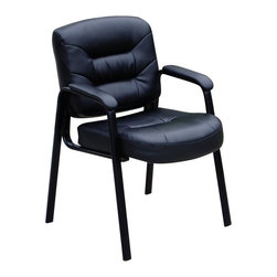 BOSS Chair - Upholstered Guest Chair In Black w Padded Arm - Softness and durability. Passive ergonomic seating with built-in lumbar support. Padded armrests covered with Caressoft upholstery. Black steel legs. Matching guest chair for models (B7501) and (B7506). Cushion color: Black. Base/wood: Black. Seat size: 20 in. W x 17 in. D. Seat height: 19.5 in. H. Arm height: 26 in. H. Overall dimension: 23.5 in. W x 24 in. D x 34.5 in. H. Weight capacity: 250 lbs