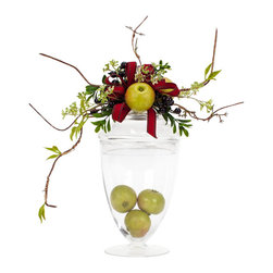 Decorated Glass Apothecary - Large Decorated Glass Apothecary With Small Green Apples and a Red Ribbon