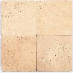 Stone & Co - Light Travertine Tumbled / Brushed 4x4 Tile - Light Travertine Tumbled / Brushed 4x4 Tile