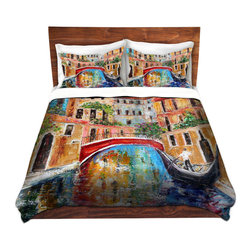 DiaNoche Designs - Duvet Cover Twill by Karen Tarlton - Venice Magic II - Lightweight and super soft brushed twill Duvet Cover sizes Twin, Queen, King.  This duvet is designed to wash upon arrival for maximum softness.   Each duvet starts by looming the fabric and cutting to the size ordered.  The Image is printed and your Duvet Cover is meticulously sewn together with ties in each corner and a concealed zip closure.  All in the USA!!  Poly top with a Cotton Poly underside.  Dye Sublimation printing permanently adheres the ink to the material for long life and durability. Printed top, cream colored bottom, Machine Washable, Product may vary slightly from image.