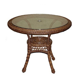 """Fifthroom - 36"""" Wicker Sands Round Dining Table - Our Wicker Round Dining Table deserves a special place on your patio, porch, or deck, because it was born � or, rather, built � to greatness. Although it looks just like authentic wicker, it's constructed from Synthetic Wicker, which is made from tubular aluminum interwoven with vinyl fibers. Besides being absolutely spectacular, it's also maintenance-free and incredibly durable. Over the years, as you dine outdoors on the finest foods, with friends and family, this table will work to earn a special place in your heart as well."""