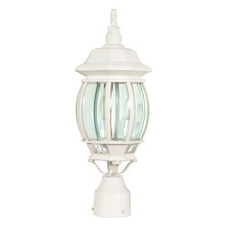 Nuvo Lighting - Central Park 3 Light White With Clear Beveled Panels Post Lantern - Bring a touch of elegance to your patio with this white post lantern, ideal for bringing you brilliant style at an affordable price. Its white finish is sleek and contemporary while its clear panels will beautifully light up your outdoor space.