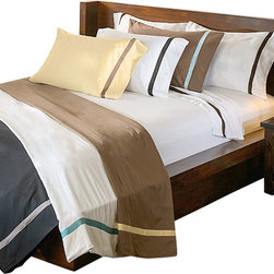Bed Linens - Hotel Collection 300 Thread Count Pillowcase Set King White/Chocolate - HotelCollection 300 Thread Count Pillowcase Set