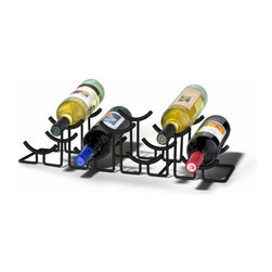 Spectrum Diversified Designs - Euro Hlo 7-bottle Wine Rack, Black - Spectrum's Euro HiLo 7-Bottle Wine Rack combines a stylish look with space-saving convenience. The unique design keeps wine bottles at the proper angle to help prevent corks from drying. Made of sturdy steel, this wine rack will add a modern touch to your home.