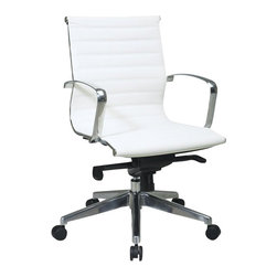 Office Star - Office Star Deluxe White Eco Leather Back and Seat Mid Back Chair - Office Star - Office Chairs - 74123LT