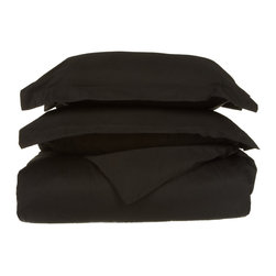 """530 Thread Count Egyptian Cotton King/Cal-King Black Solid Duvet Cover Set - Our 530 Thread Count Duvet Cover Set offers the ultimate softness of a lower thread count. They are composed of premium, long-staple cotton and have a """"Sateen"""" finish as they are woven to display a lustrous sheen that resembles satin. Set includes: (1) Duvet Cover 92""""x106"""" & (2) Pillow Shams 20""""x36"""" each."""