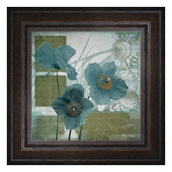 """Posters 2 Prints LLC - Cerulean Poppies I - Cerulean Poppies I by Robert Lacie. Canvas Giclee framed with a beautiful 2.125"""" Distressed Brown frame. Our Canvas Giclee product is made using a Giclee printing process that uses up to 12 different color inks that spray onto high quality canvas paper to give a product that looks most like an original painting."""