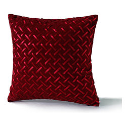 14 Karat Home - Ribbon Basketweave Pillow, Red, 18x18 - Chic and unconventional this throw pillow is made of a flat brushed velveteen finish the satin dyed to match ribbon is weaving in and out of the fabric. This richly colored pillow is elegant and sophisticated and would be a conversation piece in any room in your home.