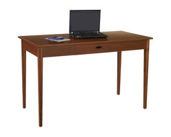 Safco - Apres Wood Table Desk (Mahogany) - Finish: Mahogany. Made of 0.75 in. furniture-grade wood. Assembly required. 75 lbs. Weight capacity. Drawer Dimensions: 17.5 in. W x 10.75 in. D x 2.75 in. H. 48 in. W x 24 in. D x 30 in. H . Accentuate Apres Modular Storage with the slim profile Apres Table. The table is modestly designed to elegantly blend with any choice of the Apres modular storage line. It is a perfect workstation with a middle drawer to keep any necessary supplies such as pens and notepads close at hand. The legs are made from solid wood. The table is beautifully designed with a laminate finish.