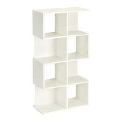 Way Basics - Malibu Shelf, White (Ying Yang) - The Malibu is your perfect bookshelf. Its unique modern look will complement and adorn any room in your home or office.