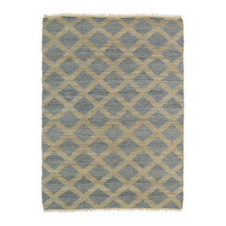 Kenwood KEN05-103 Slate Rug - The Kenwood collection, naturally made and naturally unique. This innovative construction, handmade in India with natural jute fiber combined with recycled Sari viscose, will have you doing a double take. Each rug features two color options for you to choose from because of the the truly amazing positive/negative color weaving technique. This double-side and reversible flatweave rug leaves you with a tough decision to make'which side do I like better?!?