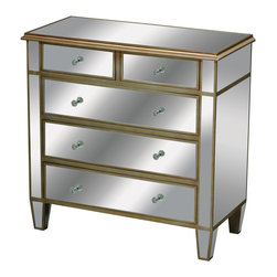 Sterling Industries - Verona Chest Drawer - Hand cut and beveled mirrored panels create light and warmth in the bedroom or in any setting. Crystal handles and an antique soft gold finish allow this to work with a wide range of lifestyle sensibilities.