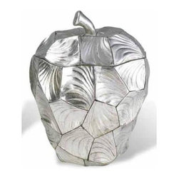 ORE International - Apple Box in Silver - Uniquely designed apple-shape. Very distinctive look. Stem of the apple used as a handle to lift the lid. Use a damp cloth to clean. Warranty: 30 days. Made from polyresin. No assembly required. 8.25 in. Dia. x 11 in. H (4 lbs.)Placing this on countertops and tables adds a lovely decor to your home.