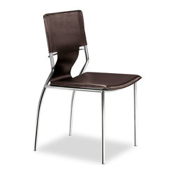 ZUO MODERN - Trafico Dining Chair Espresso (set of 4) - As conference or dining chair, the Trafico simply works. It is made with a leatherette sling and a chromed steel tube frame.