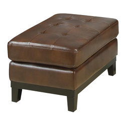 Coaster - Coaster Paige Leather Ottoman in Brown - Coaster - Ottomans - 504434 - This rectangular ottoman will add a fresh modern flair to your living room. The tufted top cushion offers a comfortable spot to rest your feet, with a sleek wooden rail and tapered legs below. Pair this ottoman with your upholstered living room pieces for a complete ensemble.