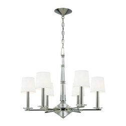 """Hudson Valley Lighting - Hudson Valley Lighting 6616-PN Porter 6 Light Chandelier in Polished Nickel 6616 - Hollywood in the 1950s gave birth to a sumptuous style, meant to impress. This glamorous aesthetic served as the backdrop for America's new royals. Porter lavishes faceted crystals upon the mirrored shine of Polished Nickel to create a dazzling collection, inspired by the dramatic flair of the """"Hollywood Regency"""" era.Candelabra baseBulb Included: No Bulb Type: Incandescent Canopy: 6-3 4"""" D Collection: Porter Energy Star Compliant: No Finish: Polished Nickel Height: 25-1 4 Light Direction: Up Down Lighting Number of Lights: 6 Shade Attachment: Double Clip Shade Bottom: 5-1 4 Shade Color: White Shade Height: 5-1 4 Shade Material: Faux Silk Shade Top: 4-1 4 Style: Bold and Glamorous Type: Crystal Chandeliers UL Listed: Yes UL Rating: Dry Location Voltage: 120 Wattage: 60 Weight: 26 Width: 29-3 4"""