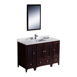 "Fresca - Fresca Oxford Traditional Bathroom Vanity, Mahogany, 48"" - If you're searching for the perfect bathroom addition that brings form and function to your home, look no further than the Fresca Oxford 48"" Traditional Bathroom Vanity with Two Side Cabinets. This incredible versatile furnishing blends with an array of interior design schemes, making it an ideal choice for antique, traditional and modern homes."