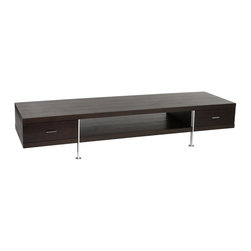 Euro Style - Contemporary TV Console in Wenge and Aluminum - Finish: Wenge/AluminumDimensions: 79 in. W x 23 in. D x 16 in. H. Drawers with full extension metal glides. Made of Oak Veneer Chrome. Pictured in Wenge/Aluminum. Suitable for commercial use. . Some assembly required