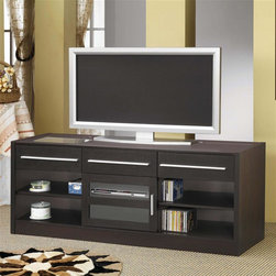 Coaster - Contemporary TV Cabinet w Drawers - One connect-it power drawer. Two additional storage drawers. One glass door. Two shelves behind door. Four lower open side shelves. Contemporary hardware. Easy access wire management. Cappuccino finish. 60 in. W x 17.75 in. D x 23.63 in. H. WarrantyEnjoy modern style and functionality for your living room and essential electronics with this TV console.