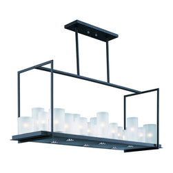 Maxim Lighting - Urban Nights Rectangular Chandelier - The Urban Nights Rectangular Chandelier fuses modern geometric form with frosted glass cylinders that contain Xenon bulbs. Under the frame, LED downlights provide a second source of light. Available in a Black finish with Frosted glass. Available in 20 and 29 light options. 20-light: sixteen 25 watt 120 volt JCD type G9 base bulbs are included. Four 2.5 watt 120 volt 3000K LEDs are included. 37.4 inch width x 66 inch height x 16 inch depth. 29-light: twenty-three 25 watt 120 volt JCD type G9 base bulbs are included. Six 2.5 watt 120 volt 3000K LEDs are included. 47.2 inch width x 66 inch height x 12.2 inch depth. UL listed.