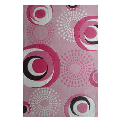 Rug - ~4 ft x 6 ft. Pink Geometric Kids Bedroom Area Rug,  Soft & hand-tufted - ZOOMANIA KIDS COLLECTION