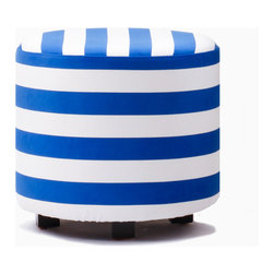 Aroopy - Nautical Blue Striped Ottoman - Join the navy — and white — and you've got a nautical duo that packs a stylish punch! Perfect as a footstool, seat or side table, this ottoman would be perfect for a beach house, den, kids' room or anywhere that the sea beckons. Velcro fasteners keep the machine-washable cover in place, so it can be easily removed for cleaning.