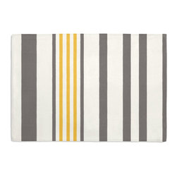 Gray, Yellow, & White Stripe Custom Placemat Set - Is your table looking sad and lonely? Give it a boost with at set of Simple Placemats. Customizable in hundreds of fabrics, you're sure to find the perfect set for daily dining or that fancy shindig. We love it in this white, gray & yellow outdoor stripe that's just hankering for those wide open spaces.