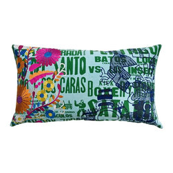 """Koko Mexico Pillow 15"""" x 27"""" - Mexican Fiesta! Flaming hearts and tactile daisies. Bold symbols of the living and the dead. Relax. All products by The Koko Company reflect their love for natural fabrics, and the manufacturing is closely monitored to ensure fair wages and compliance with strict social and environmental standards. Eagle Print Embroidery"""