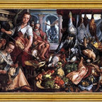 """Joachim Beuckelaer-16""""x24"""" Framed Canvas - 16"""" x 24"""" Joachim Beuckelaer The Well-Stocked Kitchen framed premium canvas print reproduced to meet museum quality standards. Our museum quality canvas prints are produced using high-precision print technology for a more accurate reproduction printed on high quality canvas with fade-resistant, archival inks. Our progressive business model allows us to offer works of art to you at the best wholesale pricing, significantly less than art gallery prices, affordable to all. This artwork is hand stretched onto wooden stretcher bars, then mounted into our 3"""" wide gold finish frame with black panel by one of our expert framers. Our framed canvas print comes with hardware, ready to hang on your wall.  We present a comprehensive collection of exceptional canvas art reproductions by Joachim Beuckelaer."""
