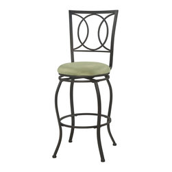 """Linon Home Decor - Linon Home Decor Half Circle Bar Stool X-U10LTM065430 - Transitional in style and design, the Half Circle Bar Stool is perfect for any home. Crafted of heavy duty metal, the stool has a dark brown finish and plush swivel beige and light green microfiber seat. The stool back has a circle and half circle design that is sleek and sophisticated. Perfect for adding seating to a counter, home bar or high top table. 30"""" Seat Height. 275 pound weight limit."""