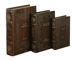 Benzara - Set of 3 Tolstoy Hemingway Library Leather Faux Book Boxes - Set of 3 Tolstoy Hemingway Library Leather Faux Book Boxes. This set has 3 well known titles war and peace, the old man and the sea and a farewell to arms. First big book measure 12 inches tall, second medium book measure 11 inch tall and third small book measure 9 inch tall.