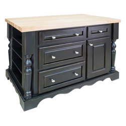 Hardware Resources - Entertaining Jeffrey Alexander Island   Distressed Black - This 53 1/2 x 33 1/2 x 34 1/4 furniture style island is manufactured using the highest quality furniture grade hardwoods and MDF. The island features four working drawers and cabinet storage on one side  fixed shelves with three removable wine racks on the reverse side  and fully adjustable spice shelves on both ends. Additional wine racks sold separately. The included decorative hardware can be found in Jeffrey Alexander Lyon collection (3991). Distressed Black finish is applied by hand. Coordinating posts are available in our carved wood (P6). 1 3/4 hard maple edge grain butcher block top sol separately (ISL01 TOP   54x34).