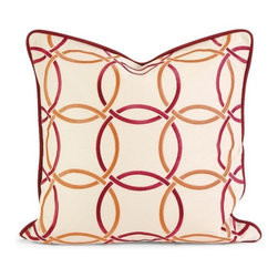 IMAX CORPORATION - IK Catina Orange Red Embroidered Linen Pillow w/Down Fill - Iffat Khan has developed a luxurious collection of down pillows with embroidered details and top of the line fabrics. Iffates refined aesthetic is evident in her collection which combines clean modern, classic casual and timeless traditional styles with her own creative twist. Find home furnishings, decor, and accessories from Posh Urban Furnishings. Beautiful, stylish furniture and decor that will brighten your home instantly. Shop modern, traditional, vintage, and world designs.